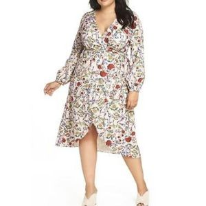CHELSEA28 floral wrap dress long sleeves high low